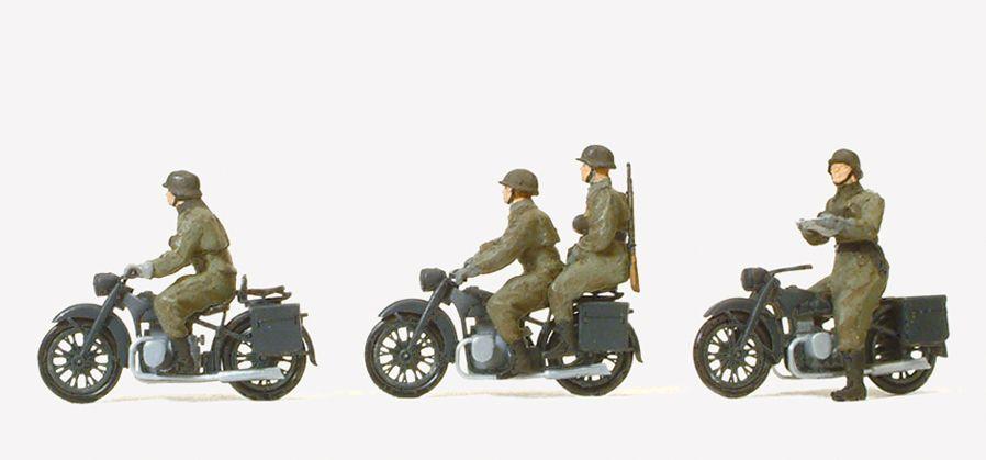 1:87 EDW Kradschützen aufgesessen auf Motorrad BMW R12, Bausatz mit 4 Figuren - Preiser 16598  | günstig bestellen bei Modelleisenbahn Center  MCS Vertriebs GmbH