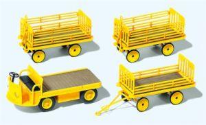 1:87 Elektrokarre mit 3 Anhängern, gelb, Deutsche Post Ep.3, Bausatz – Preiser  | günstig bestellen bei Modelleisenbahn Center  MCS Vertriebs GmbH