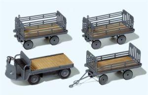 1:87 Elektrokarre mit 3 Anhängern, grau, DB Ep.3, Bausatz – Preiser  | günstig bestellen bei Modelleisenbahn Center  MCS Vertriebs GmbH