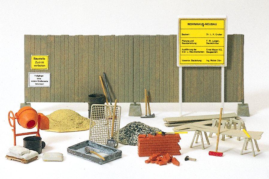 1:87 Betonmischer, Bauzaun und Maurer-Werkzeuge, Bausatz- Preiser 17177  | günstig bestellen bei Modelleisenbahn Center  MCS Vertriebs GmbH