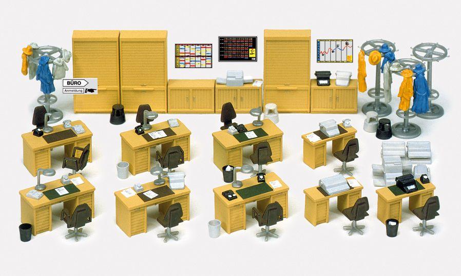 1:87 Einrichtung Büro: Schreibtische, Schränke, Stühle, Garderoben, Bausatz - Preiser 17184  | günstig bestellen bei Modelleisenbahn Center  MCS Vertriebs GmbH