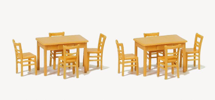 1:87 2 Tische, 8 Stühle. Materialfarbe holzfarben - Preiser 17218  | günstig bestellen bei Modelleisenbahn Center  MCS Vertriebs GmbH