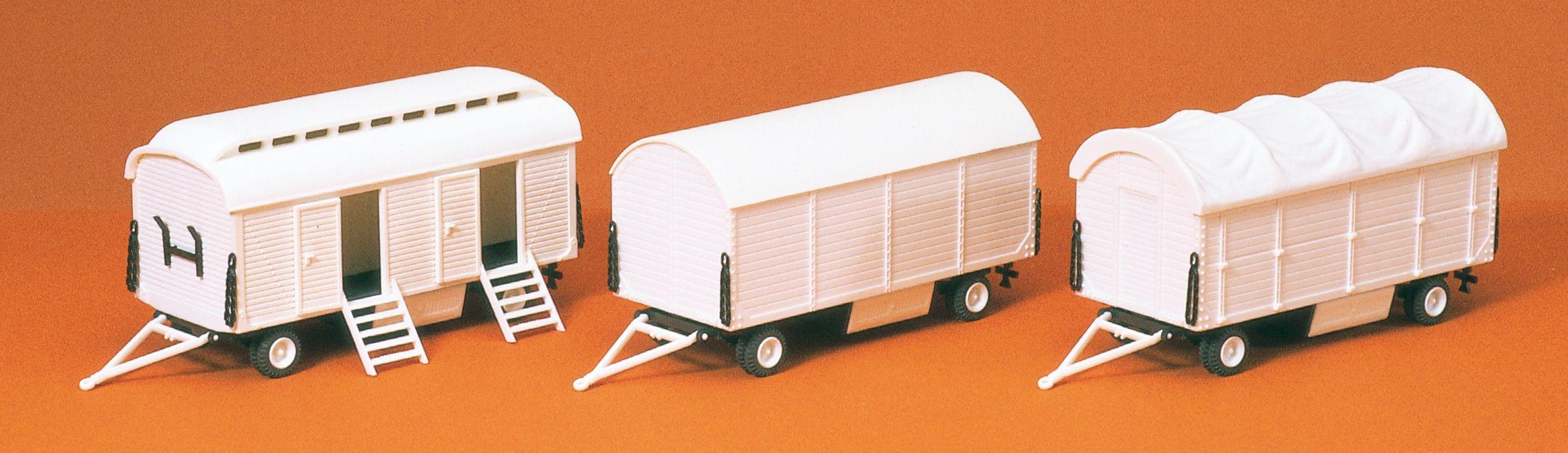 1:87 Zirkus Pack- und Toilettenwagen, Bausatz, 3 St.- Preiser 20008  | günstig bestellen bei Modelleisenbahn Center  MCS Vertriebs GmbH