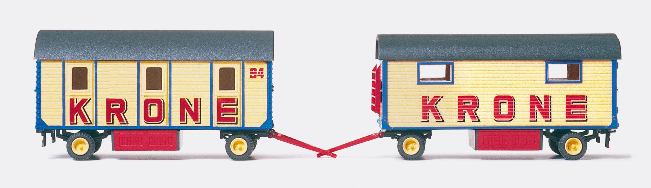 1:87 Zirkus Krone Mannschafts- Wagen mit 3 Abteilen, Bausatz- Preiser 21050  | günstig bestellen bei Modelleisenbahn Center  MCS Vertriebs GmbH