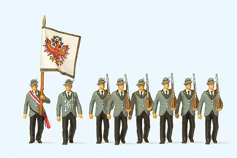 1:87 Schützen beim Festumzug, 8 Figuren - Preiser 24613    günstig bestellen bei Modelleisenbahn Center  MCS Vertriebs GmbH