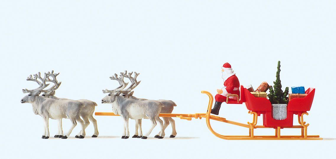 1:87 Weihnachtsmann-Schlitten mit 4 Rentieren - Preiser 30399  | günstig bestellen bei Modelleisenbahn Center  MCS Vertriebs GmbH