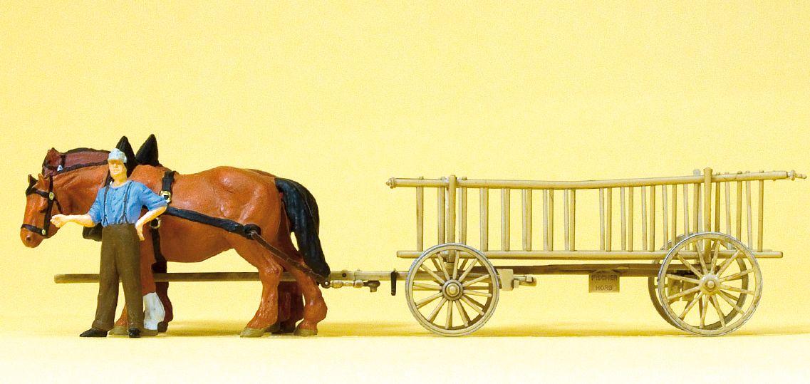 1:87 Leiterwagen, Bauer, 2 Pferde - Preiser 30416  | günstig bestellen bei Modelleisenbahn Center  MCS Vertriebs GmbH