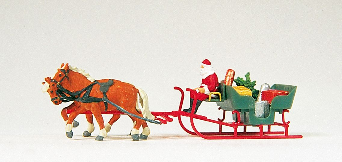 1:87 Weihnachtsmann mit Pferdeschlitten - Preiser 30448  | günstig bestellen bei Modelleisenbahn Center  MCS Vertriebs GmbH