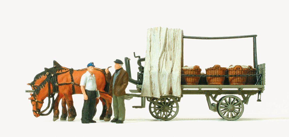 1:87 Rollwagen mit Gemüse- Beladung- Preiser 30449  | günstig bestellen bei Modelleisenbahn Center  MCS Vertriebs GmbH