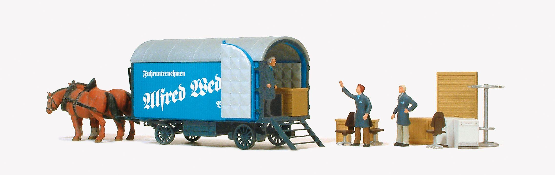 1:87 Möbelwagen Spedition A.Wedlich mit 2 Pferden, Figuren + Möbeln, Fertigmodell - Preiser 30494  | günstig bestellen bei Modelleisenbahn Center  MCS Vertriebs GmbH