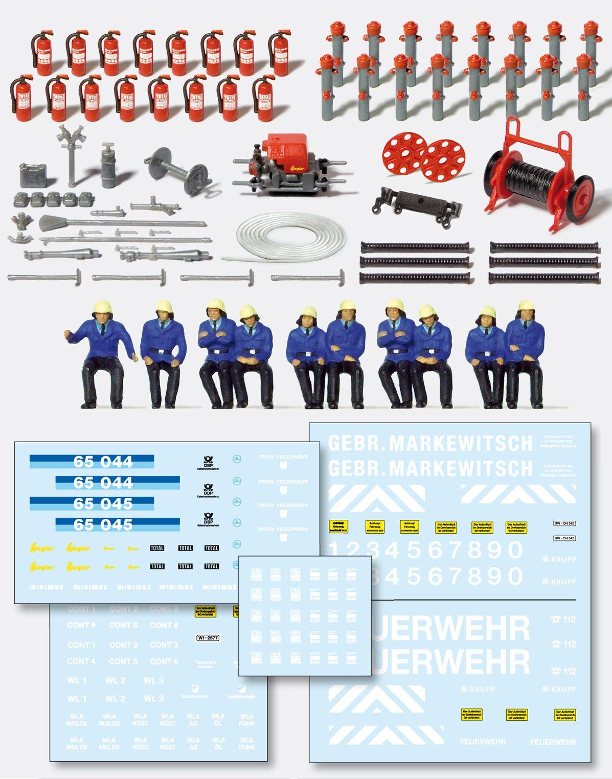 1:87 Feuerwehr Set mit Tragkraftspritze, Feuerlöscher Saugschläuche uvm., Bausatz - Preiser 31010  | günstig bestellen bei Modelleisenbahn Center  MCS Vertriebs GmbH