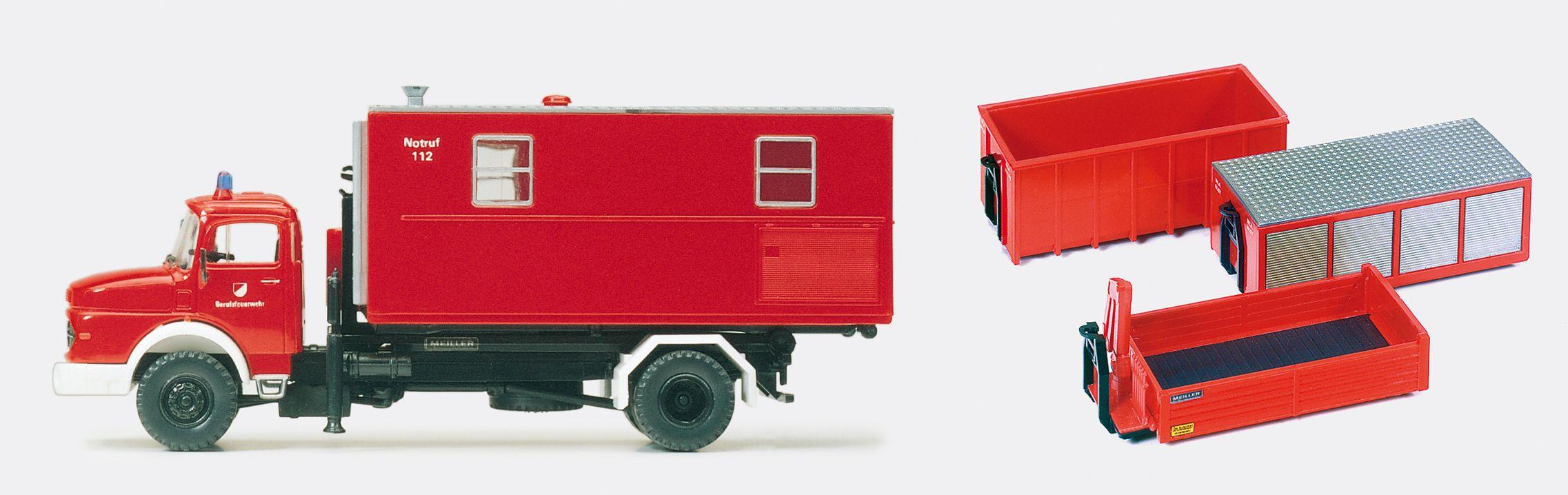 1:87 Feuerwehr Wechselaufbaufahrzeug WAF MB LA 1924,Abrollkipper Meiler 4 Container, Bausatz - Preiser 31116  | günstig bestellen bei Modelleisenbahn Center  MCS Vertriebs GmbH