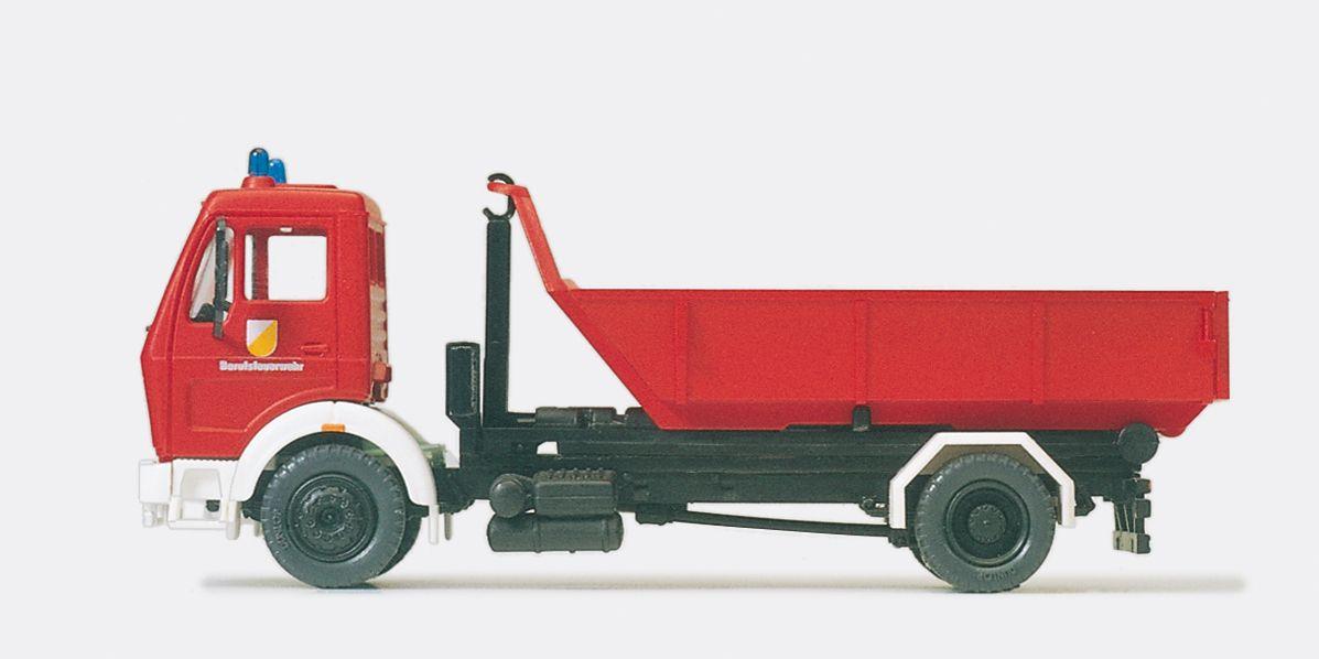 1:87 Feuerwehr Wechsellader MB 1622-45, Abrollkipper Meiler, 1 Container, Bausatz - Preiser 31207  | günstig bestellen bei Modelleisenbahn Center  MCS Vertriebs GmbH