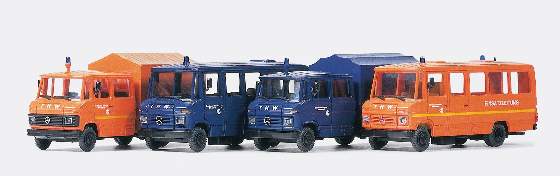 1:87 THW MB 508, 4 versch. Fahrzeuge, Bausatz- Preiser 31211  | günstig bestellen bei Modelleisenbahn Center  MCS Vertriebs GmbH