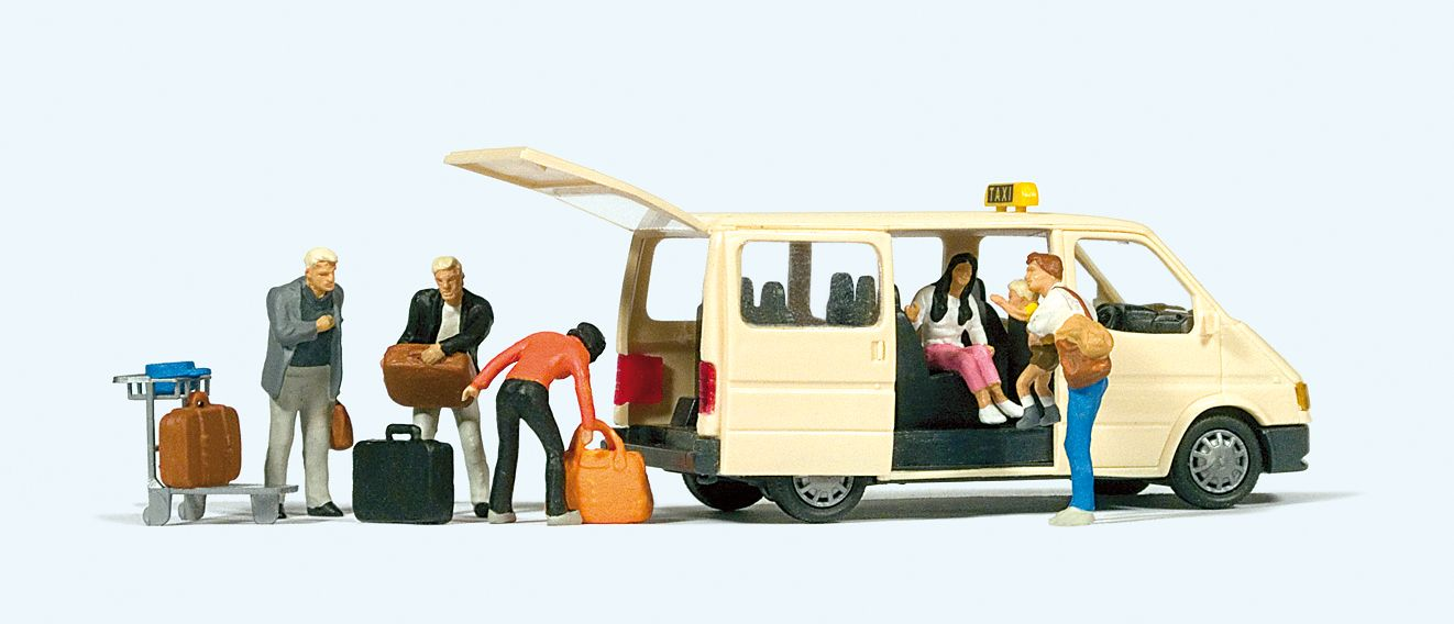 1:87 Taxi Ford Transit Taxifahrer Fahrgäste - Preiser 33244  | günstig bestellen bei Modelleisenbahn Center  MCS Vertriebs GmbH