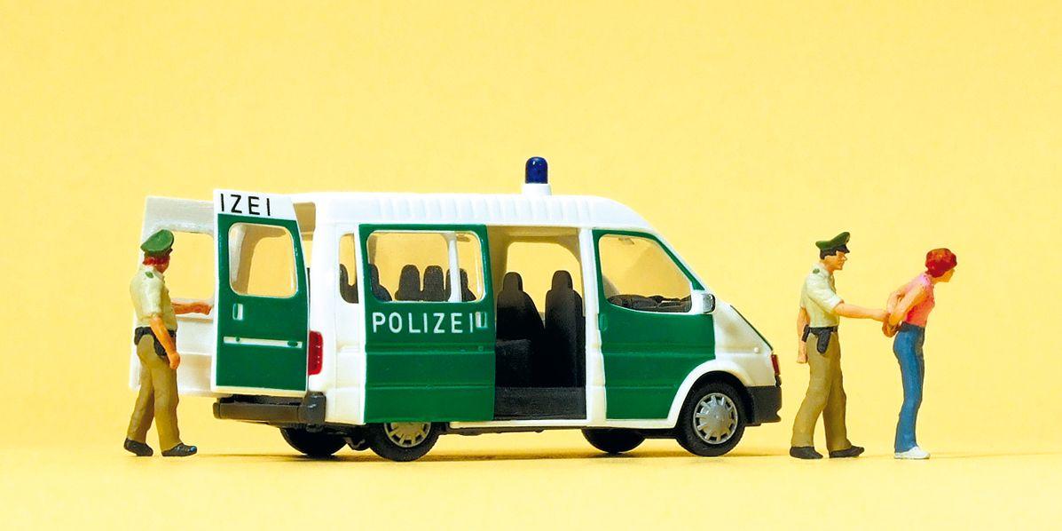 1:87 Polizei Ford Transit mit geöffneten Türen und 2 Polizisten - Preiser 33248  | günstig bestellen bei Modelleisenbahn Center  MCS Vertriebs GmbH