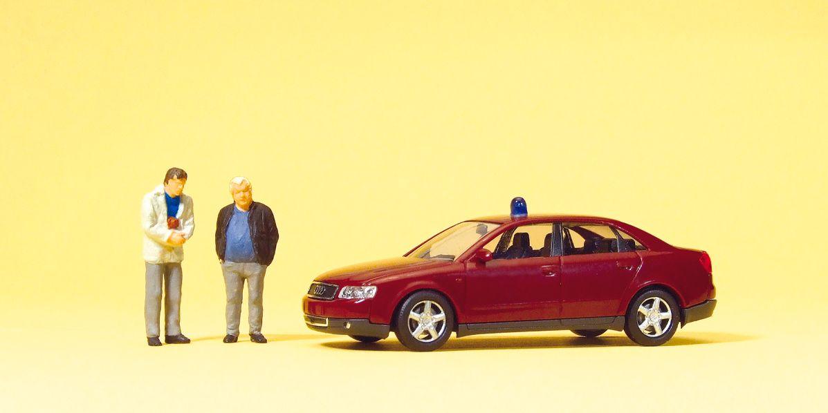 1:87 Polizei Kriminalbeamte mit Dienstwagen Audi A4- Preiser 33250  | günstig bestellen bei Modelleisenbahn Center  MCS Vertriebs GmbH