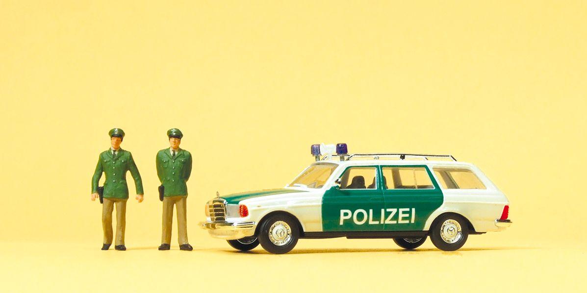 1:87 Polizei Streifenwagen Mercedes W123 und 2 Polizisten - Preiser 33251  | günstig bestellen bei Modelleisenbahn Center  MCS Vertriebs GmbH