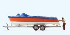 1:87 Motorboot mit Bootsanhänger - Preiser 33255 Fertigmodell | günstig bestellen bei Modelleisenbahn Center  MCS Vertriebs GmbH