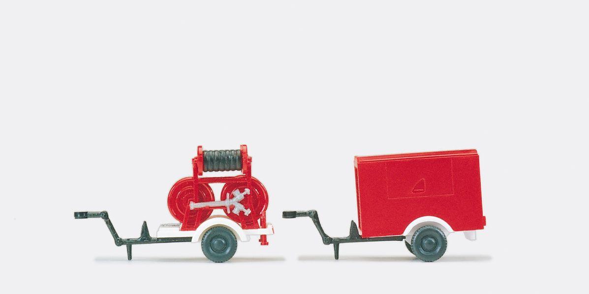 1:87 FeuerwehrSchlauchanhänger Ziegler 2 B-2 C und Tragkraftspritzenanhänger Ziegler, Fertigmodell - Preiser 35010  | günstig bestellen bei Modelleisenbahn Center  MCS Vertriebs GmbH