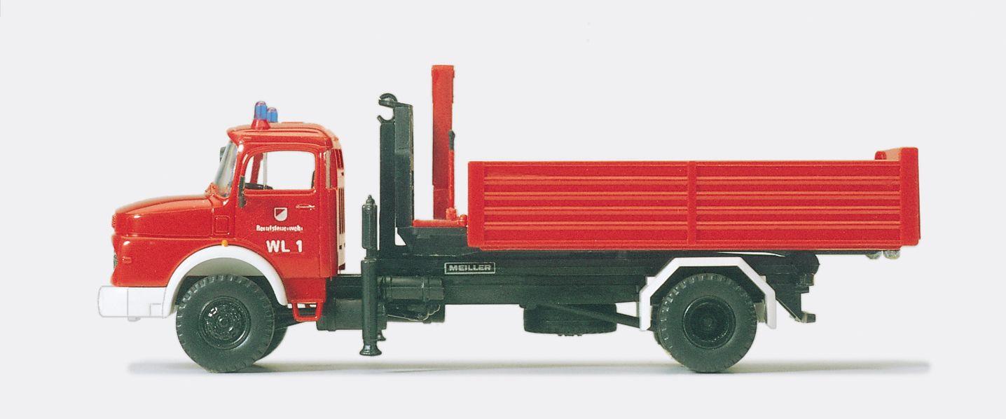 1:87 Feuerwehr Wechselaufbaufahrzeug WAF MB LA 1924, Abrollkipper Meiler, 1 Container, Fertigmodell - Preiser 35014  | günstig bestellen bei Modelleisenbahn Center  MCS Vertriebs GmbH