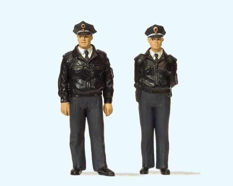 1:22,5 Polizisten stehend mit blauen Uniformen - Preiser 44909  | günstig bestellen bei Modelleisenbahn Center  MCS Vertriebs GmbH