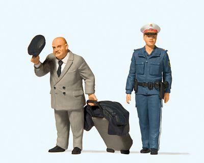 1:22,5 Reisender und Polizistin - Preiser 44915  | günstig bestellen bei Modelleisenbahn Center  MCS Vertriebs GmbH