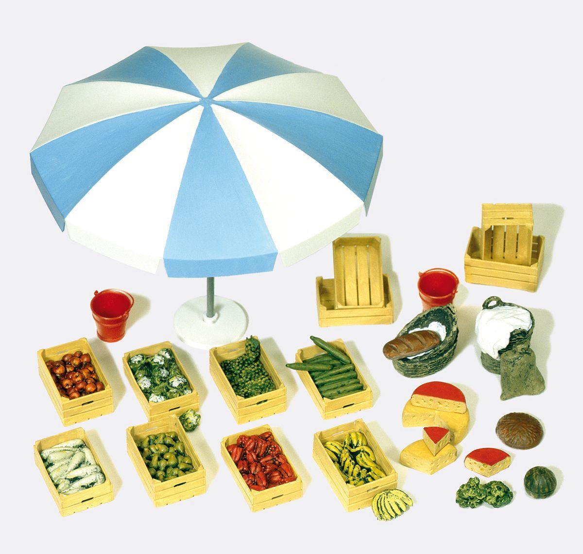 1:22,5 Marktzubehör: Schirm, Kisten, Gemüse usw.- Preiser 45207 Bausatz | günstig bestellen bei Modelleisenbahn Center  MCS Vertriebs GmbH
