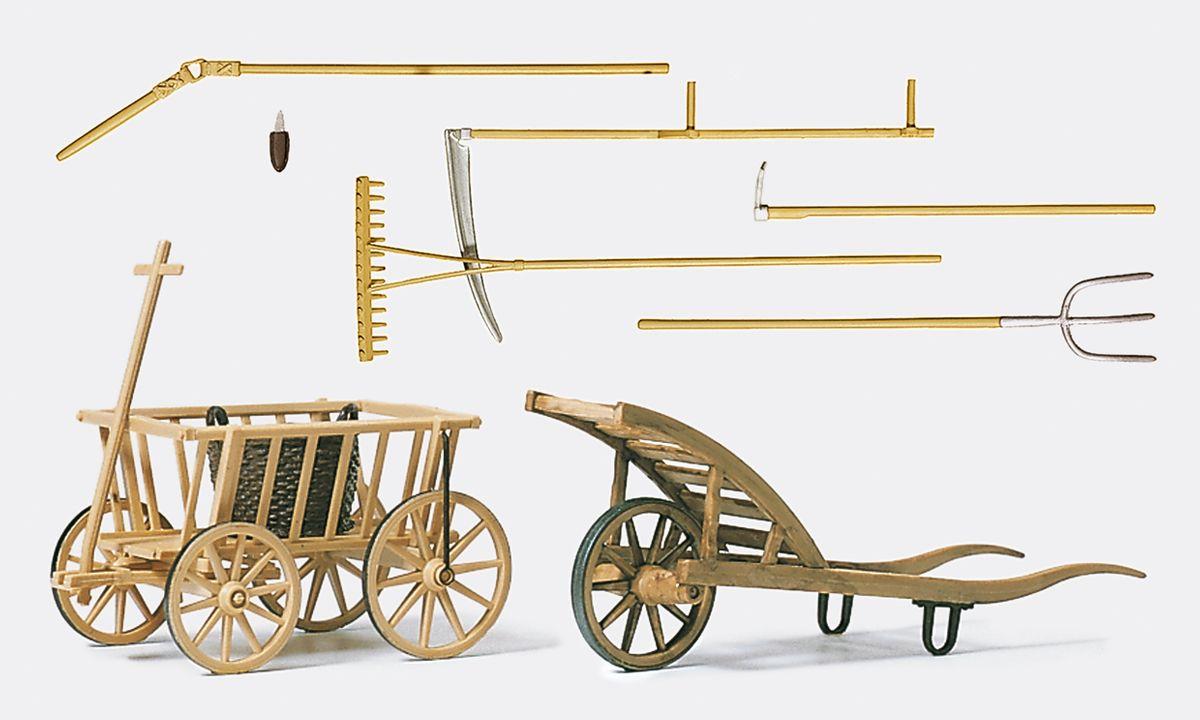 1:22,5 Handwagen, Schubkarre Werkzeuge, Bausatz- Preiser 45212 Art.Nr.663-45212