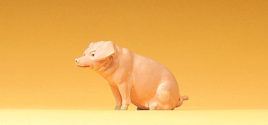 1:25 Schwein, sitzend - Preiser 47047  | günstig bestellen bei Modelleisenbahn Center  MCS Vertriebs GmbH