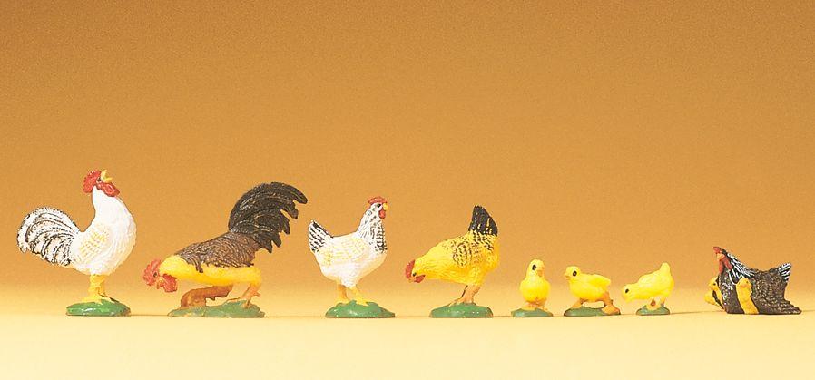 1:25 Hähne,Hühner,Küken - Preiser 47070  | günstig bestellen bei Modelleisenbahn Center  MCS Vertriebs GmbH