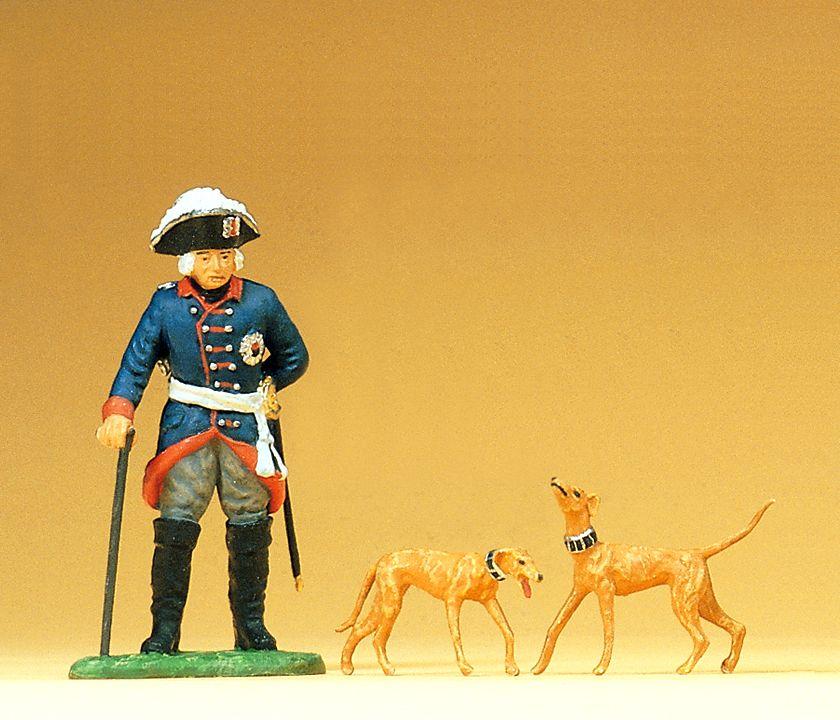 1:25 Friedrich II, stehend mit Hunden- Preiser 54101  | günstig bestellen bei Modelleisenbahn Center  MCS Vertriebs GmbH