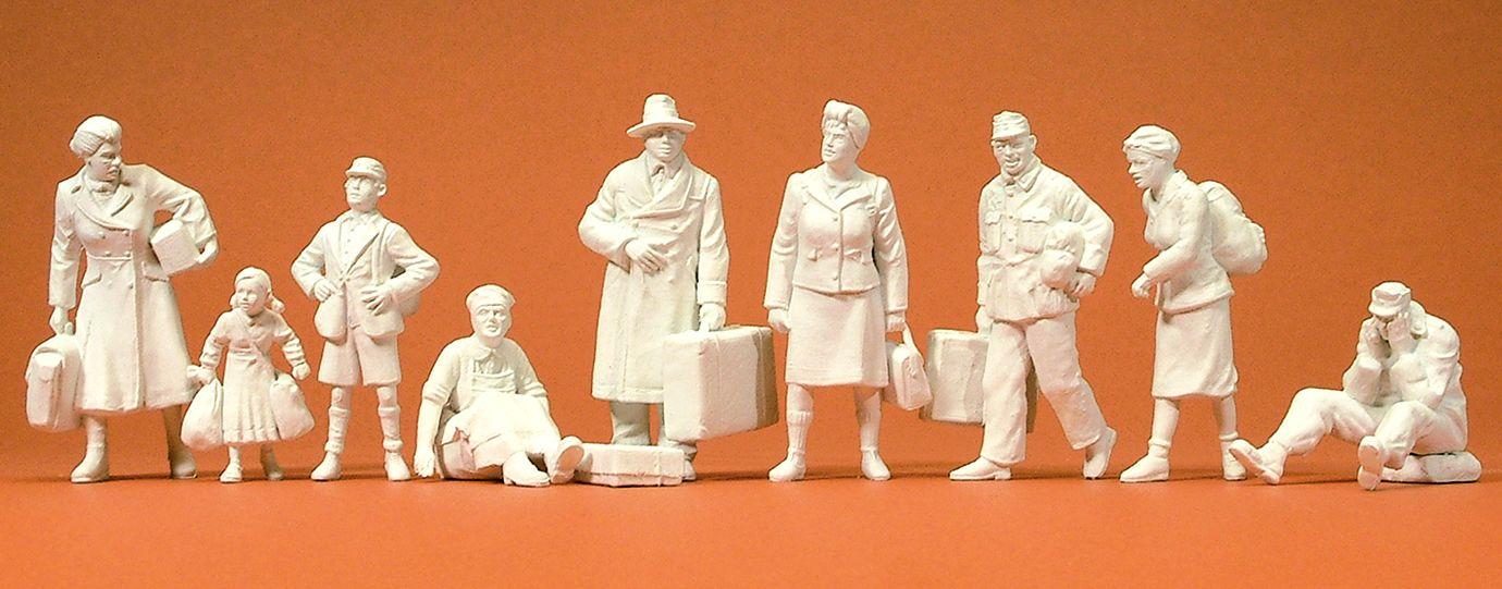 1:35 Nachkriegszeit, 9 Figuren unbemalt - Preiser 64014  | günstig bestellen bei Modelleisenbahn Center  MCS Vertriebs GmbH