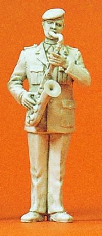 1:35 BW Heeresmusikkorps Musiker mit Tenor-Saxofon, unbemalt - Preiser 64361  | günstig bestellen bei Modelleisenbahn Center  MCS Vertriebs GmbH
