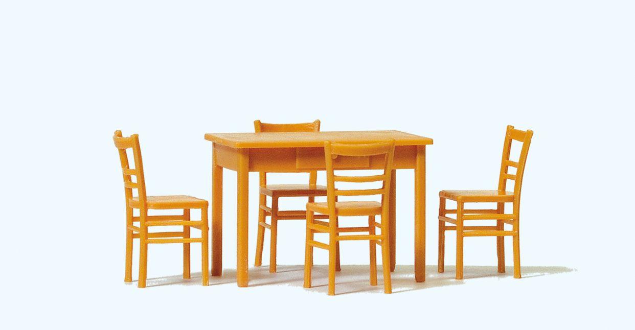 1:43Tisch und 4 Stühle, braun, Bausatz - Preiser 65809  | günstig bestellen bei Modelleisenbahn Center  MCS Vertriebs GmbH