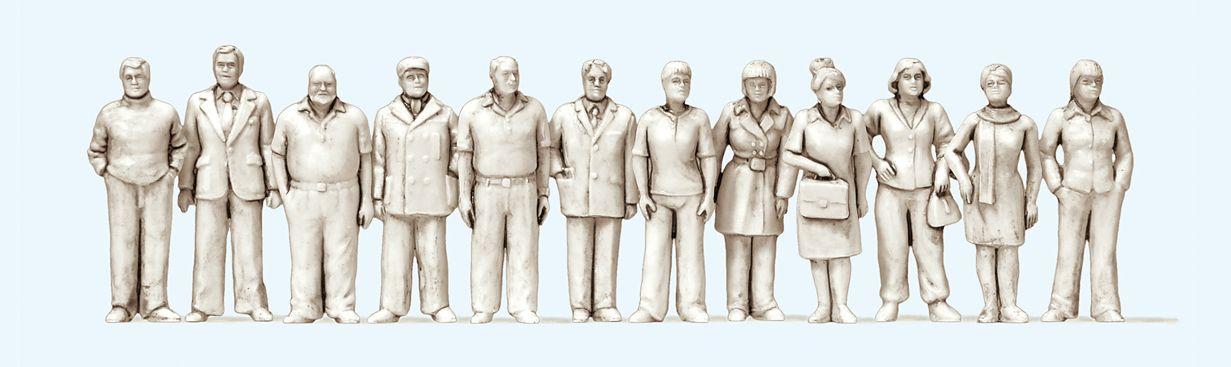 1:50 Figuren unbemalt, stehend und gehend, 12 St.  | günstig bestellen bei Modelleisenbahn Center  MCS Vertriebs GmbH