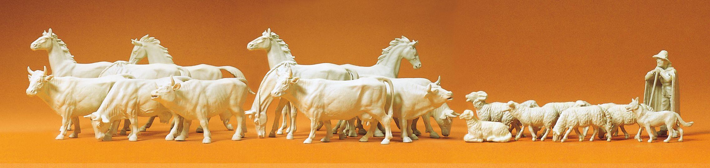 1:72 Pferde, Kühe und Schafe, unbemalt, 22 St.- Preiser 72511  | günstig bestellen bei Modelleisenbahn Center  MCS Vertriebs GmbH