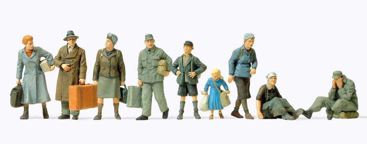 1:72 EDW Flüchtlinge, 9 unbemalte Figuren - Preiser 72537  | günstig bestellen bei Modelleisenbahn Center  MCS Vertriebs GmbH