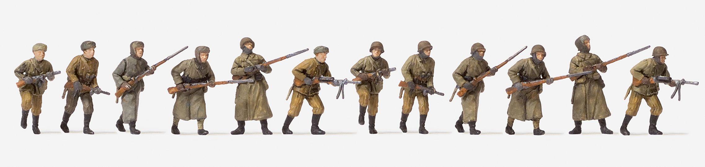 1:72 UdSSR Infanterie angreifend in Winteruniform - Preiser 72540 12 unbemalte Figuren | günstig bestellen bei Modelleisenbahn Center  MCS Vertriebs GmbH