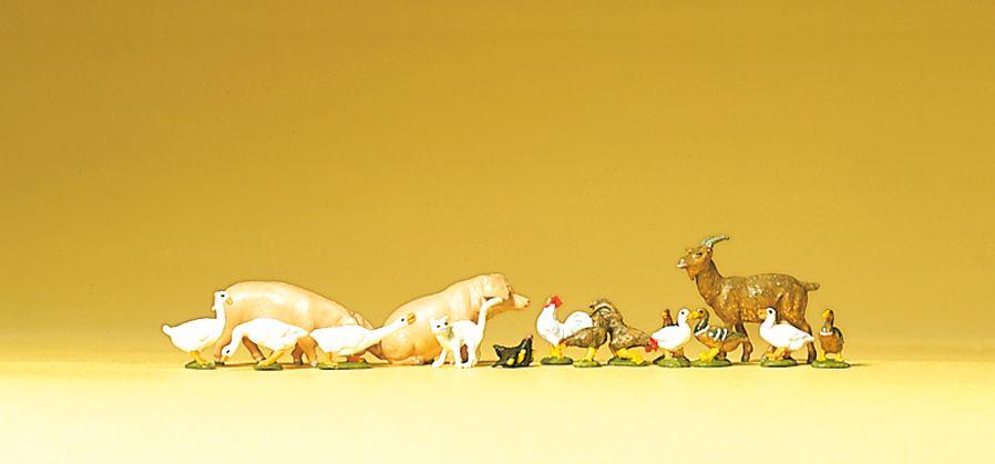 1:120 Kleintierset: Hühner, Gänse, Schweine- Preiser 75014  | günstig bestellen bei Modelleisenbahn Center  MCS Vertriebs GmbH