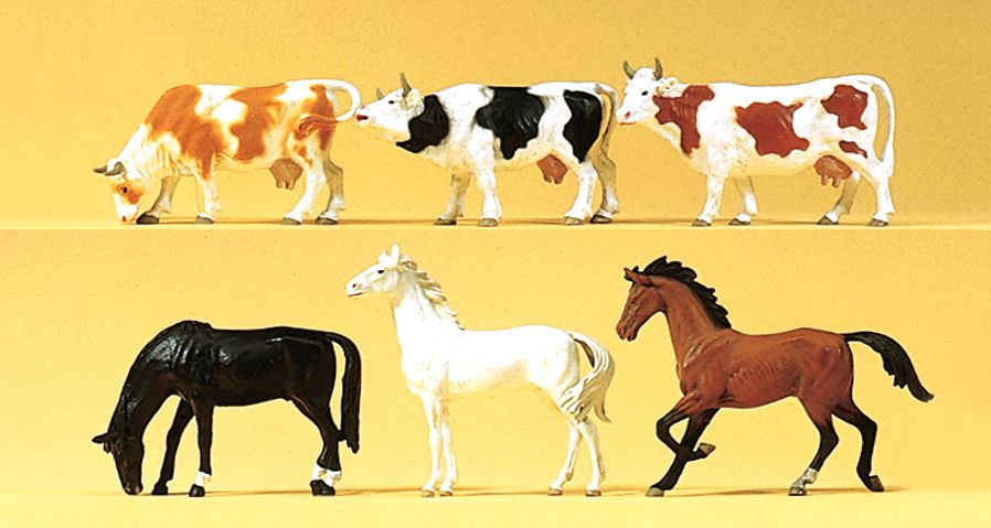 1:120 Pferde und Kühe - Preiser 75019  | günstig bestellen bei Modelleisenbahn Center  MCS Vertriebs GmbH