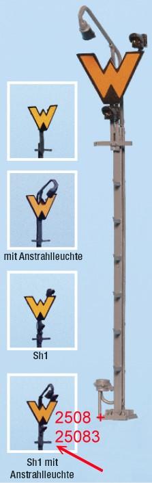 Spur 0 Wartezeichen beleuchtbar mit Anstrahler und Sh1, Bausatz- Weinert 2508  | günstig bestellen bei Modelleisenbahn Center  MCS Vertriebs GmbH