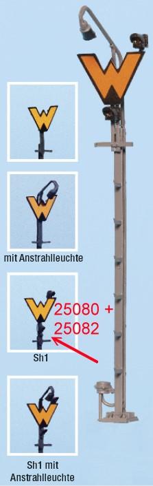 Spur 0 Wartezeichen beleuchtet mit Sh1, Fertigmodell - Weinert 25082 - mit LEDs | günstig bestellen bei Modelleisenbahn Center  MCS Vertriebs GmbH