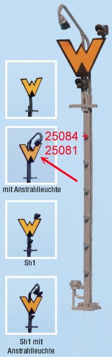 Spur 0 Wartezeichen beleuchtet mit Anstrahlleuchte, Fertigmodell - Weinert 25081  | günstig bestellen bei Modelleisenbahn Center  MCS Vertriebs GmbH