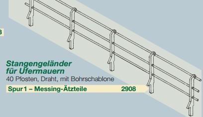 Spur 1 Geländer für Ufermauern, 48 Stück - Weinert 2908  | günstig bestellen bei Modelleisenbahn Center  MCS Vertriebs GmbH