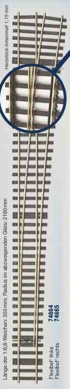 MG Code 75 Weiche rechts 1:6,6-Weinert MeinGleis  | günstig bestellen bei Modelleisenbahn Center  MCS Vertriebs GmbH