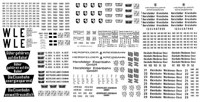 1:87 Beschriftungssatz Privatbahnen Regel- und Schmalspur- Weinert 91067  | günstig bestellen bei Modelleisenbahn Center  MCS Vertriebs GmbH