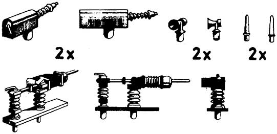 1:87 Dachsatz: Hauptschalter, Horn, UKW-Antenne und Senkantrieb aus Kunststoff - Weinert 95514  | günstig bestellen bei Modelleisenbahn Center  MCS Vertriebs GmbH