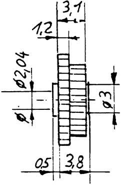 Stufenzahnrad, Modul 0,4-0,5, 20(M0,5) auf 20(M0,4) Zähne, Bohrung 2,04mm, KS, 1 Stück-Weinert 9634  | günstig bestellen bei Modelleisenbahn Center  MCS Vertriebs GmbH