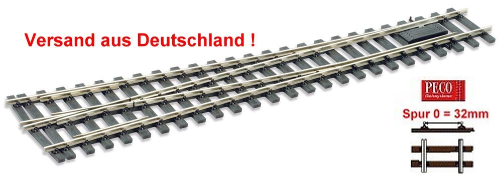 Spur 0 Code 143 - 8° Weiche rechts, Länge 416 mm - Peco SLE791FB  - Mittlerer Radius 1828 mm | günstig bestellen bei Modelleisenbahn Center  MCS Vertriebs GmbH